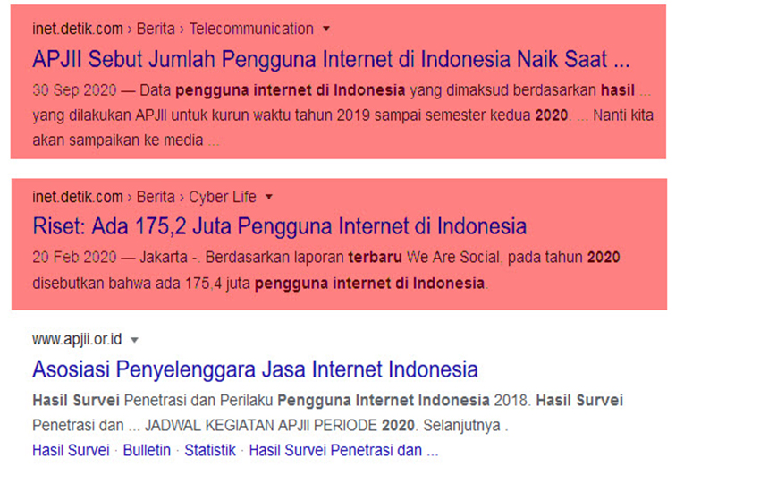 HASIL SURVEY PENGUNA INTERNET GOOGLE